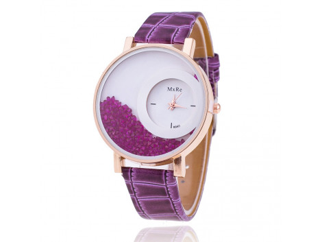 Women Rhinestone Wrist Watch Leather Strap - Purple