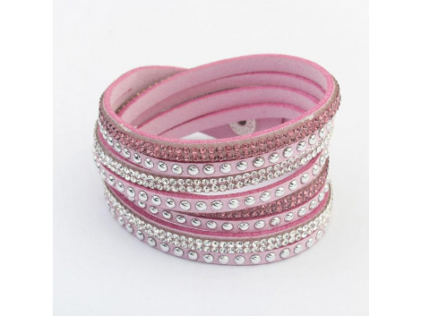 Multilayer Crystal Bracelet - Pink
