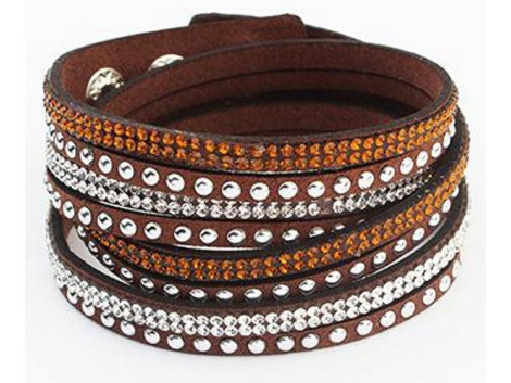 Multilayer Crystal Bracelet - Brown