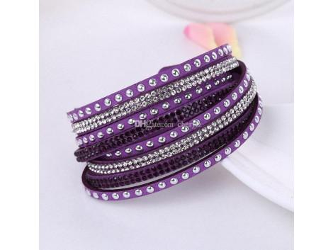 Multilayer Crystal Bracelet Light Shining -  Violet