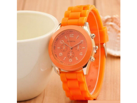 Women's or Girl's Watch Fashion Silicone Strap Candy Color Length 25Cm Orange
