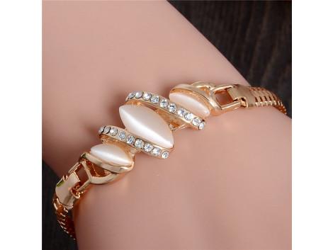 Gold plated cat eye stone unique bracelet