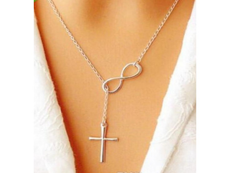 Cross Silver Color Jewelry Alloy Material Chain