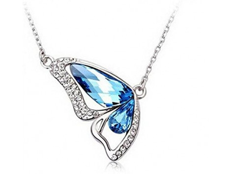 Angelfish dancing butterfly crystal pendant necklace