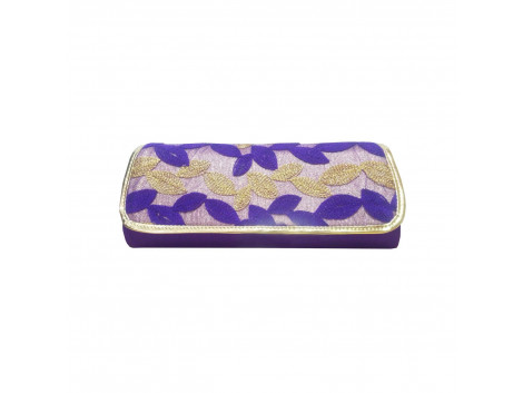 Angelfish Designer Clutch Blue-Golden Leaves