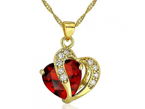 Angelfish Romantic Multicolor Crystal Love Heart Pendants Necklaces