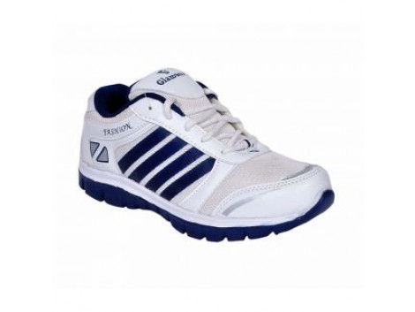 Glamour Mens Synthetic White Blue Sports Shoes (ART-3035)