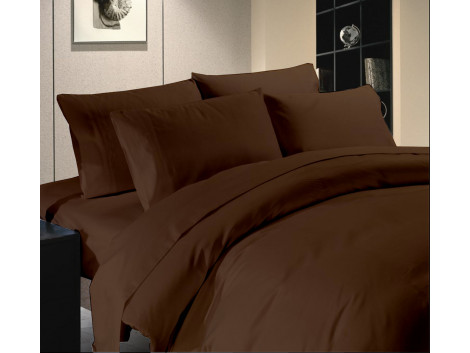 Egyptian Cotton Beddings Solid Bed Sheet With Pillow Covers - Brown