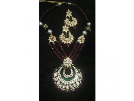 Chandbali Kundan Beaded Necklace set with Earrings - 6547856