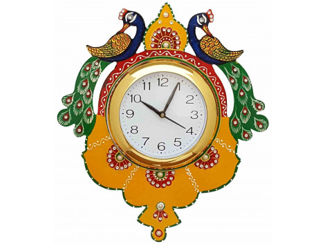 Double peacock Painted Wooden Wall Clock