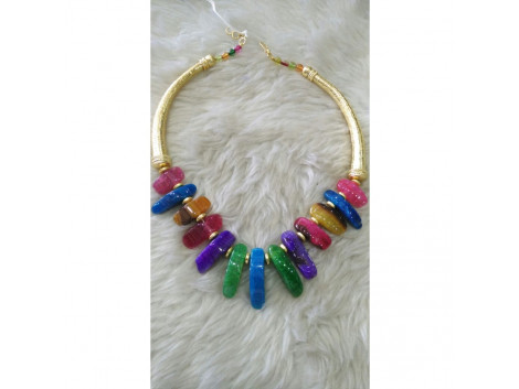 Jaipur Multi color stone hasli necklace set