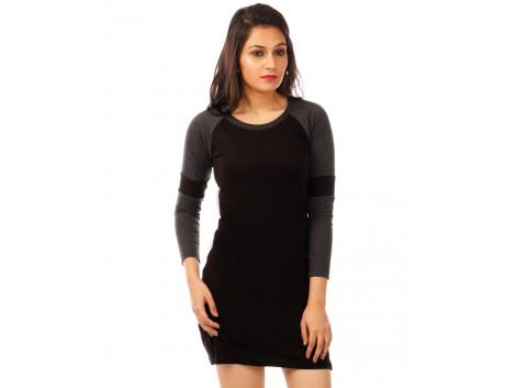 Charcoal Melange-Jet Black Full Sleeve T Shirt Dress
