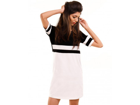 Jet Black-Brilliant White Miami Trim Half Sleeve T Shirt Dress