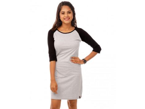 Jet Black-Light Grey Melange 3/4th Sleeve T Shirt Dress