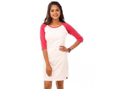 Pink Melange-Brilliant White 3/4th Sleeve T Shirt Dress