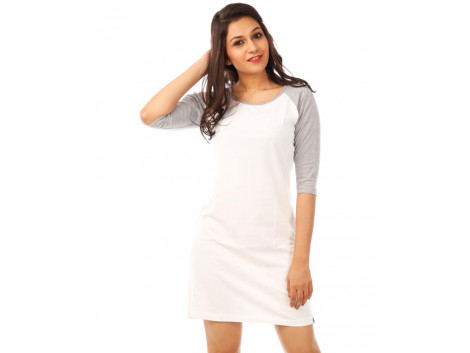 Light Grey Melange-Brilliant White 3/4th Sleeve T Shirt Dress