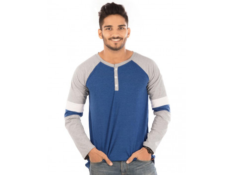 Royal Blue Melange Henley Printed Double Sports Trim Full Sleeve T Shirt