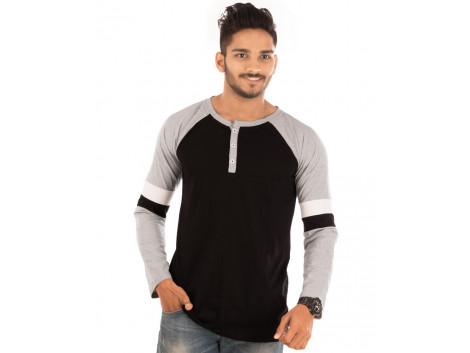 Jet Black Henley Printed Double Sports Trim Full Sleeve T Shirt