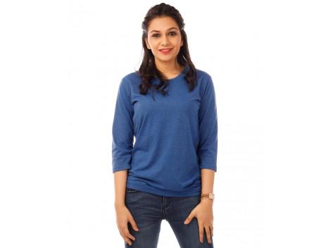 Royal Blue Melange Plain 3/4th Sleeve T Shirt