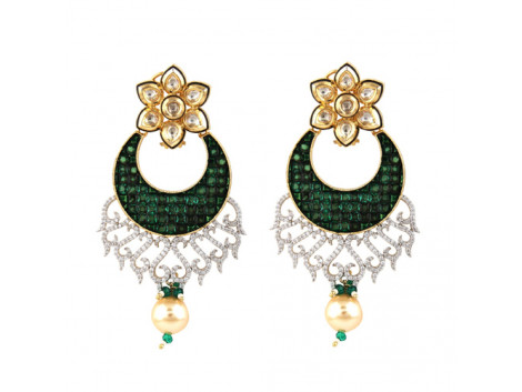 Vatika's High Quality Cubic Zircon Green Chandbali with Kundan Earrings - 0366