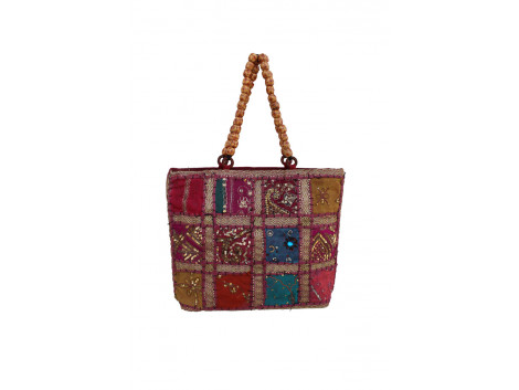 The Living Craft ZARI PATCHWORK BEADED-HANDLE WOMEN's HANDBAG Multicolor TLCBG0220