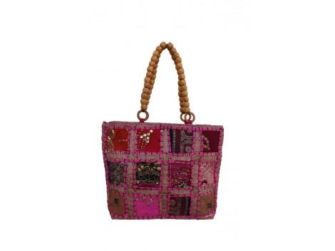 The Living Craft ZARI PATCHWORK BEADED-HANDLE WOMEN's HANDBAG Multicolor TLCBG0222