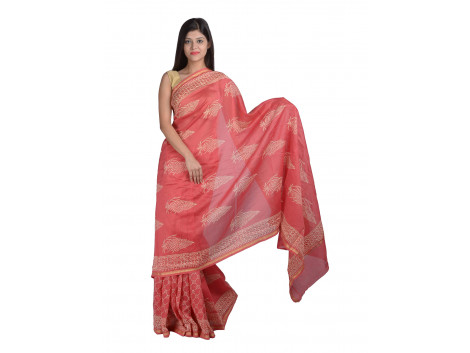 PANVI Printed Chanderi Silk Saree  (Red)