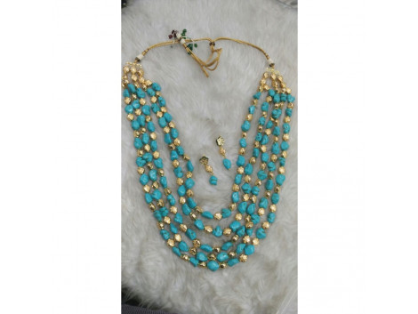 Turquoise blue beaded Necklace Set