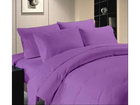 Egyptian Cotton Beddings Solid Bed Sheet With Pillow Covers - Purple