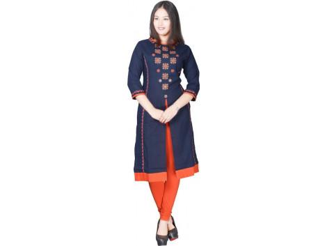 Radha's Embroidered Women Frontslit Kurta  (Blue)