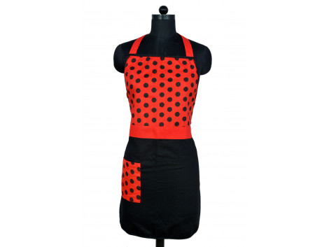 Branded Cotton Red and Black Apron with Pocket