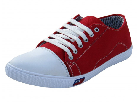 Rudose Mens Red Lace-up Canvas Sneakers