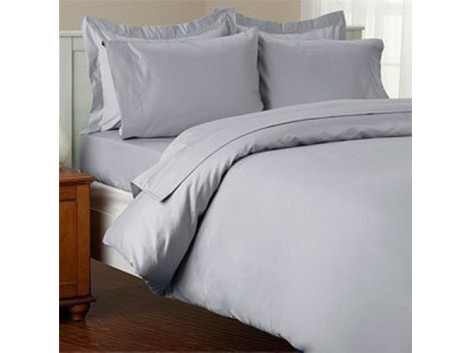Egyptian Cotton Beddings Solid Bed Sheet With Pillow Covers - Silver Gray