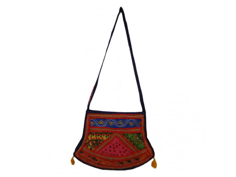 The Living Craft ETHNIC FARSA SHAPED WOMEN's SLING BAG with PATCHWORK Multicolor TLCBG0226