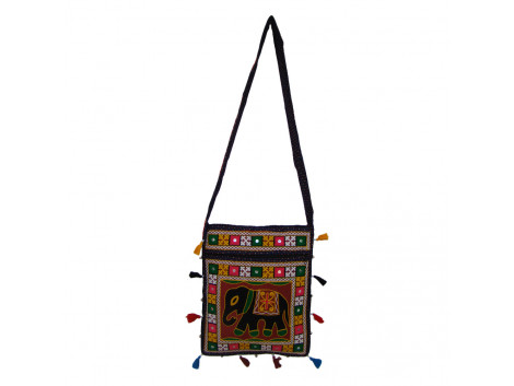 The Living Craft RAJASTHANI WOMEN's SLING BAG with AARI EMBROIDERY Mutlicolor TLCBG0246