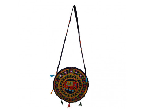 The Living Craft ETHNIC ROUND SHAPED WOMEN's SLINGBAG with AARI Work Multicolor TLCBG0247