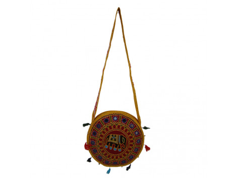 The Living Craft ETHNIC ROUND SHAPED WOMEN's SLINGBAG with AARI Work Multicolor TLCBG0249