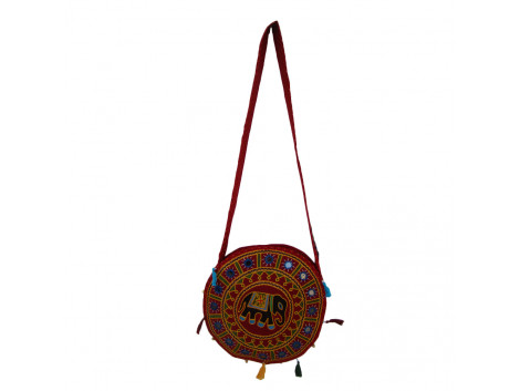 The Living Craft ETHNIC ROUND SHAPED WOMEN's SLINGBAG with AARI Work Multicolor TLCBG0251