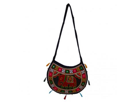 The Living Craft ETHNIC MOON SHAPED WOMEN's SLINGBAG with AARI WORK Multicolor TLCBG0255