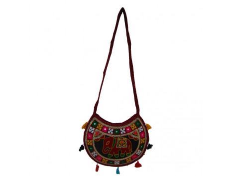 The Living Craft ETHNIC MOON SHAPED WOMEN's SLINGBAG with AARI WORK Multicolor TLCBG0256