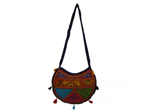 The Living Craft ETHNIC MOON SHAPED WOMEN's SLINGBAG with Mix Patchwork Multicolor TLCBG0259