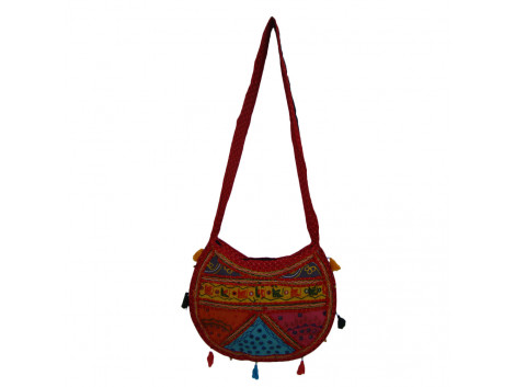 The Living Craft ETHNIC MOON SHAPED WOMEN's SLINGBAG with Mix Patchwork Multicolor TLCBG0260