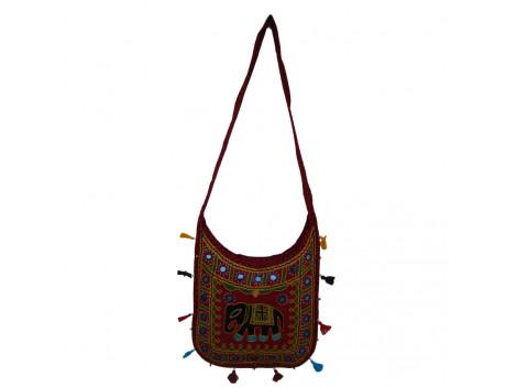 The Living Craft ETHNIC U-SHAPED WOMEN's SLINGBAG with AARI WORK Multicolor TLCBG0263