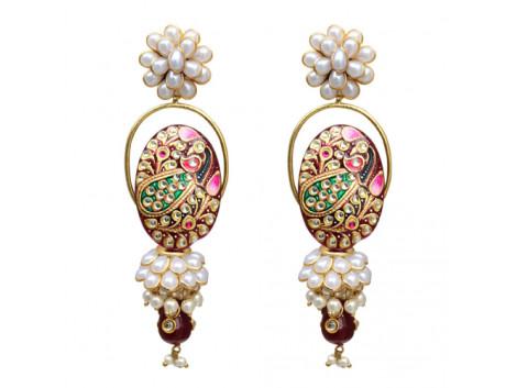 Vatika Tanjore White Red Pacchi Jhumki Earrings 9628