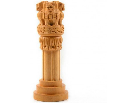 Divinecrafts Decorative Ashoka Pillar Showpiece - 10.16 cm  (Wooden, Brown)