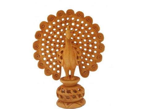 Divinecrafts Decorative Jaali Dancing Peacock Showpiece - 10.16 cm  (Wooden, Brown)