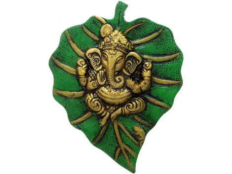 Divinecrafts Metal Wall Hanging Of Lord Ganesha On Leaf Showpiece - 18 cm  (Aluminium, Green)