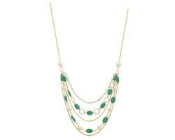 Archiecs Creations Alloy Artificial Stone & Pearl Stud Green Chain Necklace for Women