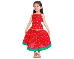 Archiecs Creations Leafy Printed Lehanga Choli Set For Girls