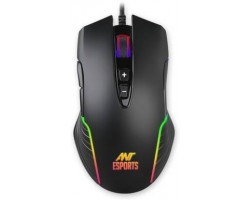 Ant Esports GM500RGB 1000 Hz Polling Rate 4000 Dpi for FPS and MOBA Wired Laser Gaming Mouse USB 2.0, Black